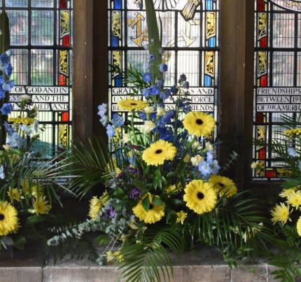 South porch flower arrangement