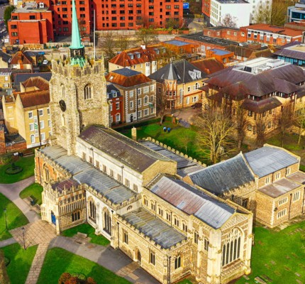 Chelmsford Cathedral from the air