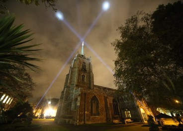 The Cathedral lit up